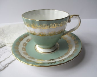 Vintage Teacup & Saucer Aynsley English Bone China Sage Green and Gold