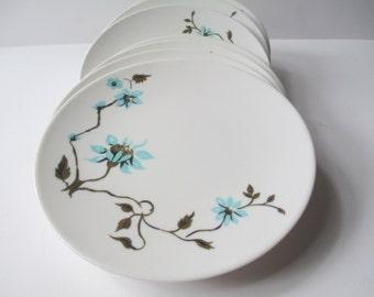 Apollo Melmac Barna Aqua Brown Floral Bread & Butter Plates Set of Eight - Retro Vintage