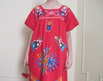 vintage Red Mexican Oaxacan Dress with Colorful Embroidered Flowers - 1970s Bohemian Sundress