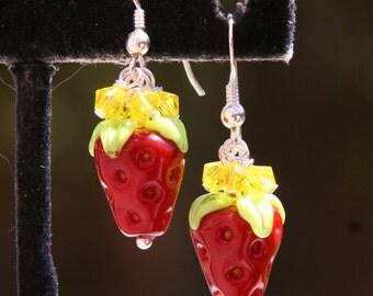 Strawberry Garden SRA Lampwork DeSIGNeR Dangling Earrings Strawberries Shortcake Fruit Spring Summer Dessert