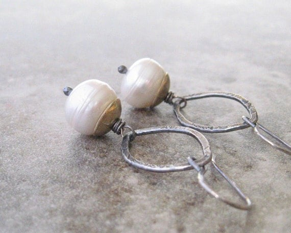 white pearl and silver dangle earrings, oxidized metalwork dangle earrings