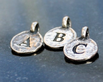 Initial charm sterling silver Letter Charm