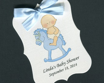 Personalized Baby Shower Favor Tags, baby boy on rocking horse, set of 40