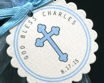 Personalized Baptism Christening Communion Favor Tags, blue cross