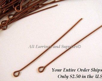 50 Copper Eye Pins Antique Plated Iron 2 inch (50mm), 20-21 Gauge - 50 pc - F4002EP-AC50