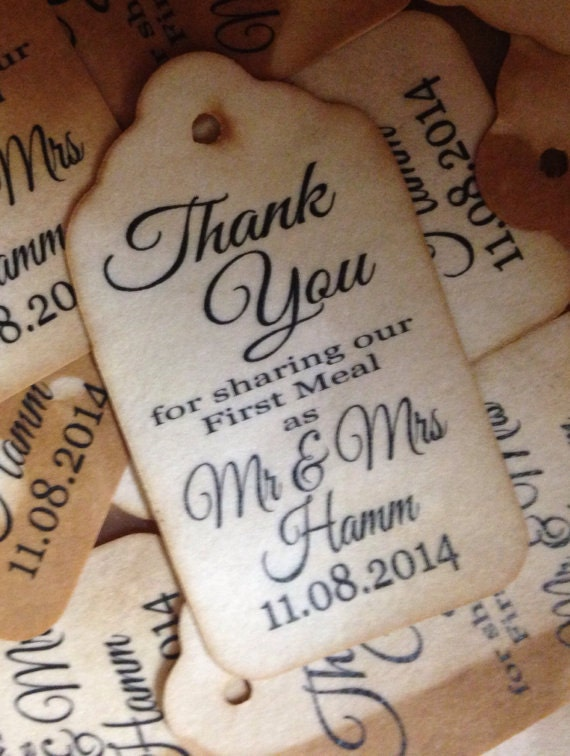 Thank you for Sharing our First Meal LARGER LARGE 2 1/8 x 3 3/4 Tag Personalize with names and date choose your quantity