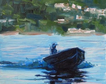 Oil Painting, Ocean Landscape, Man on Boat,  Original Artwork Fine Art, Impressionistic, Pacific Southwest Coastline...6x6 Inch