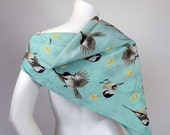 Silk scarf with the illustration of the Chickadee.