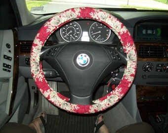 SALE Black Cabbage Roses Steering Wheel Cover