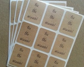 Tis The Season - holiday brown paper sticker labels