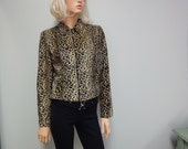 ON HOLD THROUGH Dec 19th  Vintage 80s Leopard Jacket, Faux Fur Cropped Motorcycle Style Size 6