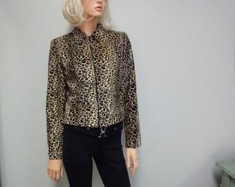 Vintage 80s Leopard Jacket, Faux Fur Cropped Motorcycle Style Size 6