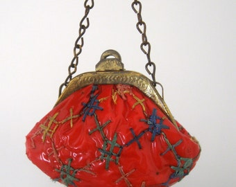 Doll Purse Tiny Shiny Red Lattice Ginny 1950's