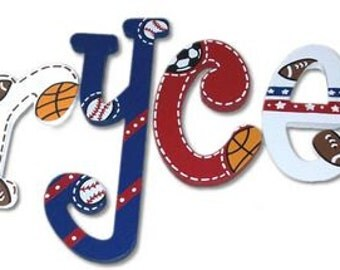 All Star Wood Wooden Hand Painted Hanging Nursery Wall Letters Sports Rooms Decor
