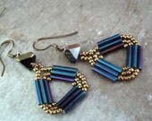 SALE Hand Stitched Peacock Blue Triangle Dangle Earrings Handmade Ear Wires       1.99 SHIPPING USA