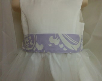 "SALE SASH ONLY Ready to ship Flower girl bridesmaid Osborne damask lavender wisteria white  1.5-2 inches wide x 85"" long  3t-teen"