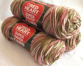 Red Heart Super Saver yarn PINK CAMO, pink peach green cream worsted weight yarn