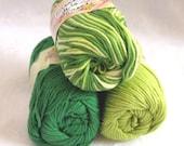 100% cotton yarn, GREEN TONES  combination pack,  Green white cotton yarn, Creme de la Creme yarn, worsted weight