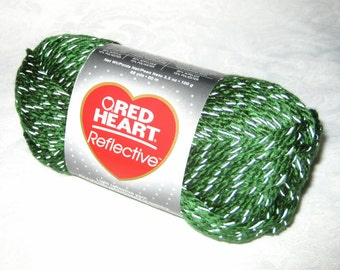 Glow in the dark yarn, Red Heart Reflective yarn, OLIVE GREEN bulky weight yarn