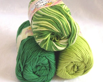100% cotton yarn, GREEN TONES  combination pack,  Green white cotton yarn, Creme de la Creme yarn, worsted weight, 3 balls