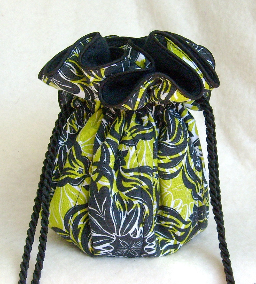 Anti tarnish jewelry bag in black and lime mod damask by for Anti tarnish jewelry bags