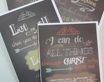 Bible Verse Greeting Card Set, 5x7, set of 8, blank, chalkboard illustration, stationary, wedding, anniversary
