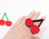 Cherry Ring, Laser Cut Acrylic, Big and Bold Statement Ring, Handmade in Brighton, uk