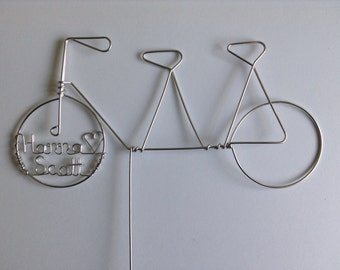 Tandem Wedding Cake Topper Personalized Simple 2D Style