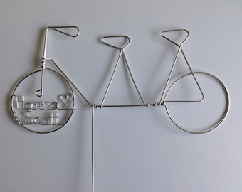 BICYCLE 4 TWO: Personalized Silhouette Tandem Bike Wedding Cake Topper