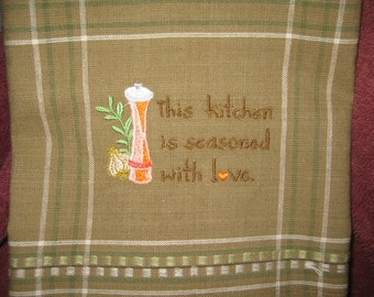 Kitchen Towel with Seasoned with Love Saying