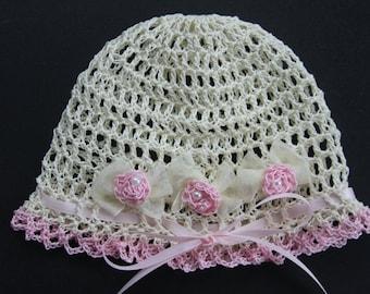 Crochet Newborn Baby Girl Hat Infant Bonnet Knit Preemie Cap Baptism Christening Baby Hat Reborn Doll Beanie Flower Hat Baby Photo Prop