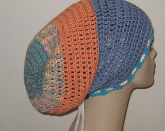 One of a Kind Cotton Slouchy Beanie/DreadTam/Long Slouchy/Crochet Hat