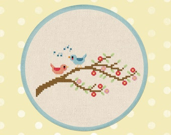 Bird Melodies. Birds on Blossoming Tree Branch Cross Stitch Pattern PDF File