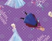 Purple Frozen Sisters Forever Cotton Fabric 1 Yard IN STOCK NOW.