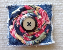 Denim pin brooch with floral rosette and button topper