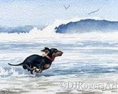 "Dachshund Art Print ""Dachshund at the Beach"" Signed by Artist DJ Rogers"