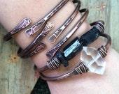 Bangle Bracelet Set Copper Bangles Raw Gemstone Bracelets Healing Crystal Jewelry Daniellerosebean