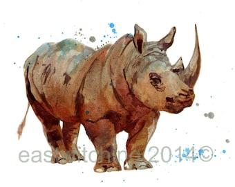 RHINOCEROS Print, safari animals, safari art, wildlife African