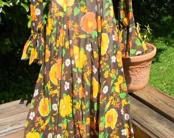 Vintage Hippie, Boho, Mod 1970's Maxi Dress, in Browns, Gold, Orange and Green, Handmade