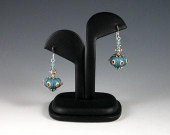 Samovar Earrings, Polymer Clay, Turquoise Blue Pumpkin Bead