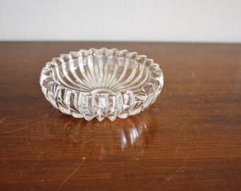 Vintage round crystal dish, ashtray