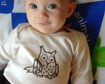ORGANIC Owl Baby Bodysuit, Infant Creeper, One Piece Snapsuit, 3-6, 6-12, 12-18, or 18-24 Month Long-Sleeve