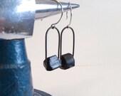 Black tourmaline loop earrings