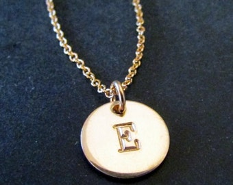 Gold Initial Necklace, Letter Charm, Little 14k Gold Filled Pendant | Hand Stamped Personalized Jewelry, by E. Ria Designs