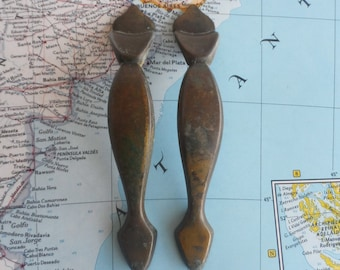 SALE!  2 vintage dark brass metal vertical pull handles
