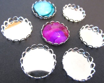20 Silver Plated Brass  Cabochon Settings  18mm  Scallop Laced Edge Charms Ring Making