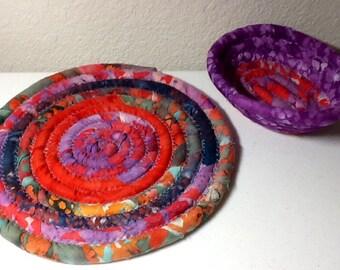 SALE - Coiled Fabric Cotton Basket and Mat Set, Egg Basket, Mug Rug - Purple Orange Turquoise - Storage and Organization handmade