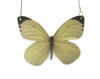 White Glider Butterfly Pendant Necklace Large or Small Gifts for her