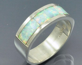 Opal Inlay Pipe Band Ring