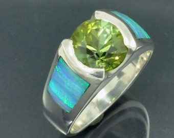3ct. Round Brilliant Cut Green Tourmaline in Opal Inlay Silver Ring